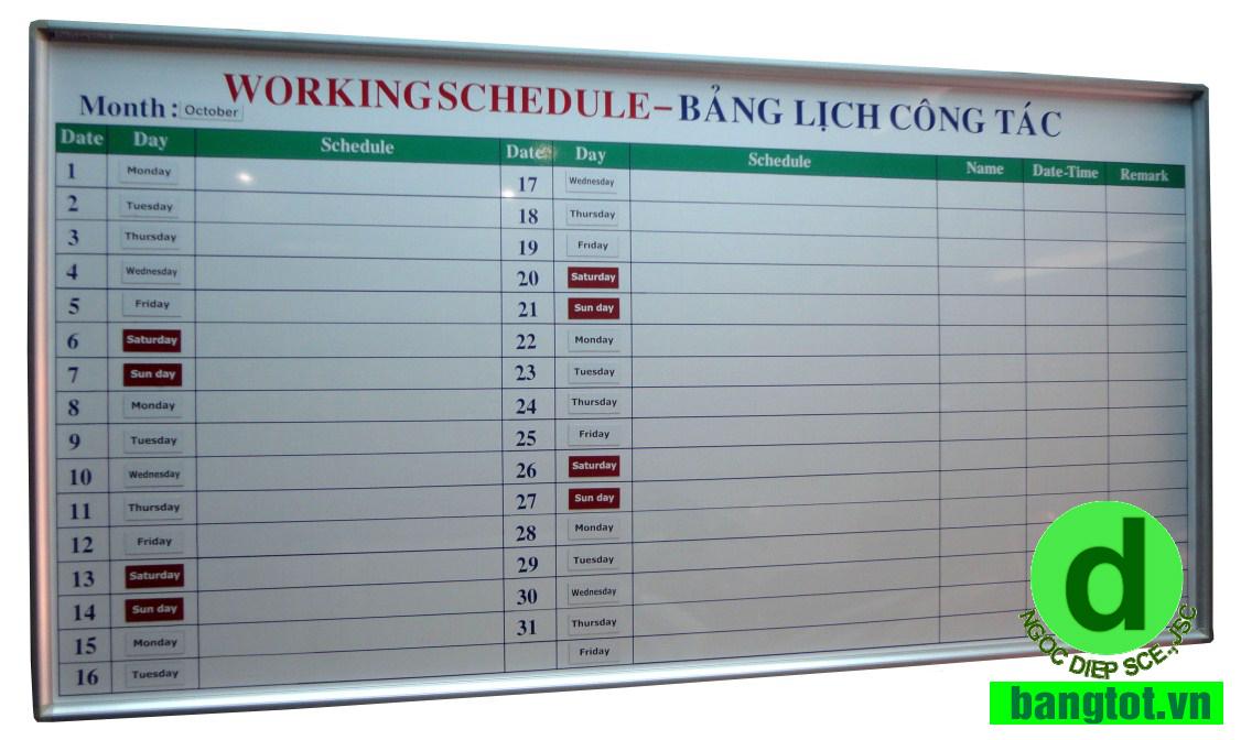 bảng kế hoạch công việc