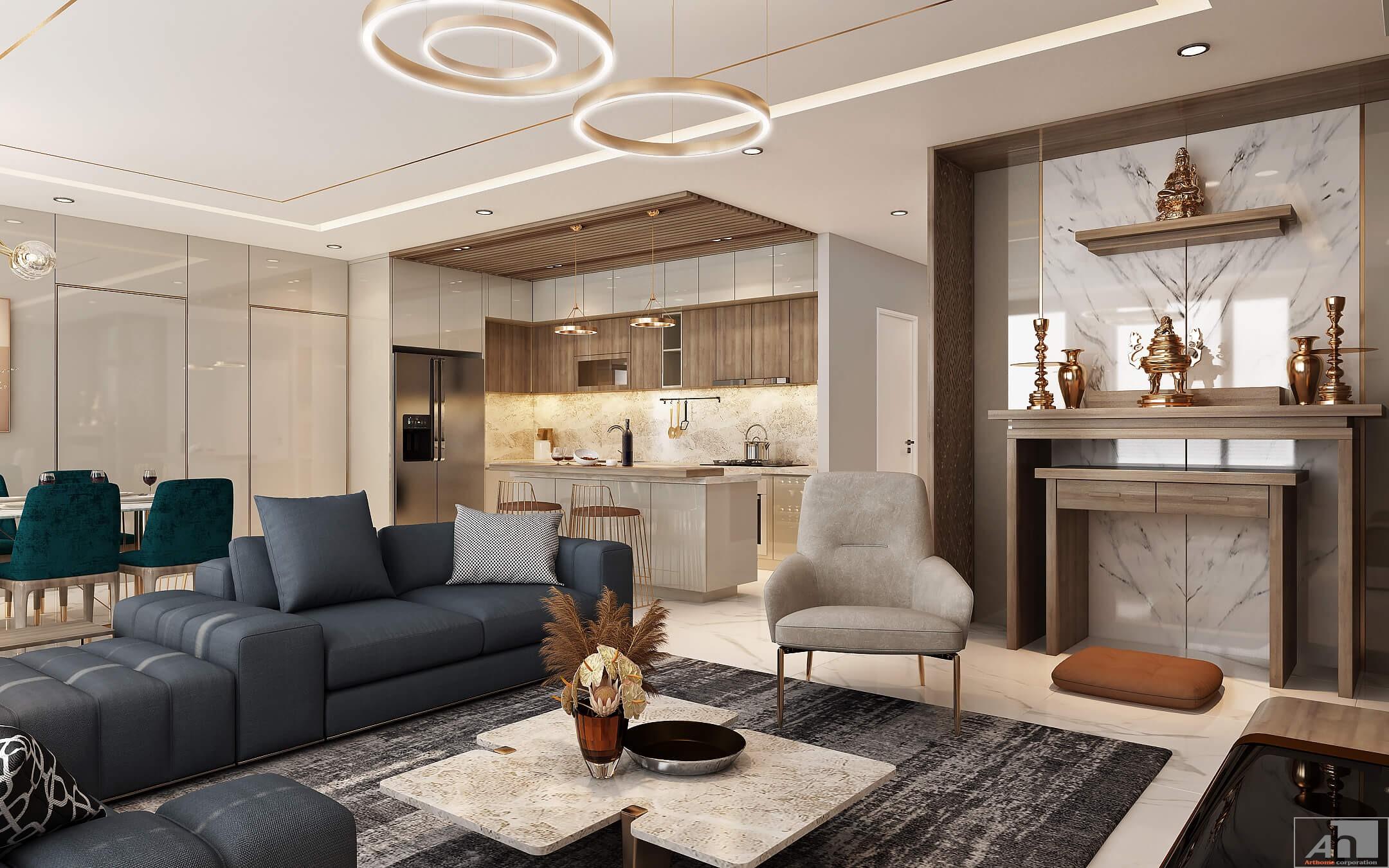 Thiết kế thi công nội thất cao cấp can hộ Cipucha 150m2 - Thiết Kế Nội Thất  Cao Cấp ArtHome