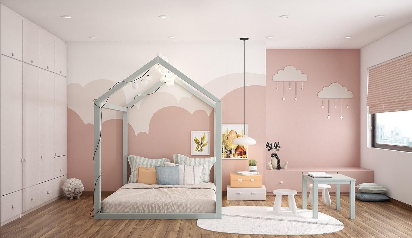 Phòng ngủ màu hồng với chất liệu gỗ công nghiệp cho nữ
